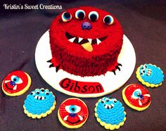 Red Monster Cake and cookies