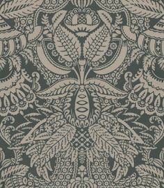 Orangerie (BP 2503) - Farrow & Ball Wallpapers - An exotic leaf pattern interspersed with floral motifs and extravagant detail. Shown here in brown on charcoal water based paints - more colours are available. Please request a sample for true colour match.