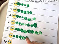 Fingerprint Counting Printables for Spring - Preschool activities - Preschool Classroom, Classroom Activities, Preschool Crafts, Preschool Education, Counting Activities Eyfs, Preschool Painting, Kindergarten Math Activities, Bug Crafts, Sequencing Activities