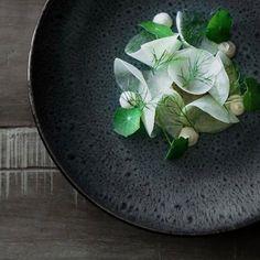 Fennel, kohlrabi, parsnip cream, and apple fennel seed vinaigrette by @born.under.the.sun #TheArtOfPlating