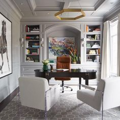 50 Home Offices That Maximize Creativity This grand home office beautifully blends old and new with traditional mouldings and an impressive desk, juxtaposed by a pair of modern, Lucite-framed chairs. Home Office Space, Home Office Decor, Home Decor, Office Ideas, Home Office Furniture Ideas, Office Inspo, Office Interior Design, Office Interiors, Modern Office Design