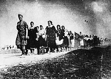 Croatia/NDH 1941-1945. Serbian and Jewsh women and children being escorted to a concentration camp