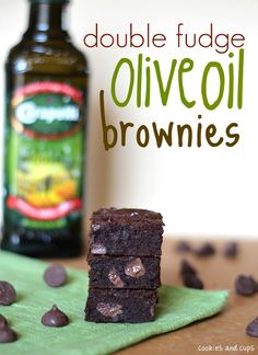 Double Fudge Olive Oil Brownies - A HIT! - loved by everyone!  No olive oil flavor, just nice and chocolately.  Moist; on the fudgy side. Recipe is a keeper!