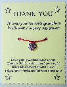 Nursery Assistant Gift Thank You Card By Gemsnjewells