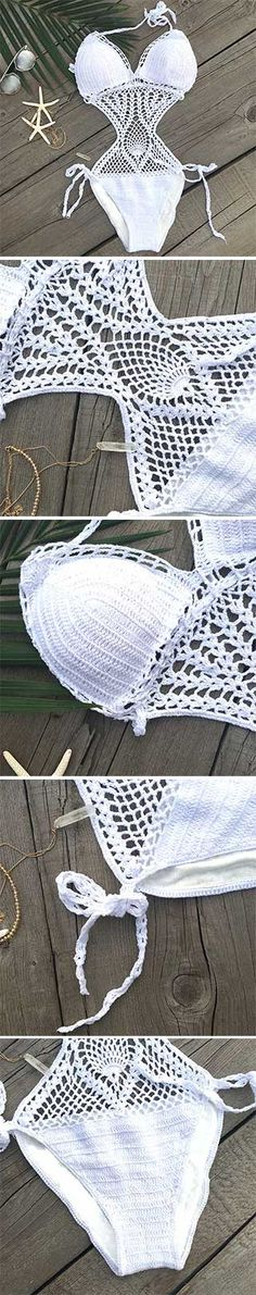 chic feeling just comes from HAND-MADE Crochet  Bikini @nakedlettuce shop on Etsy                                                                                                                                                      More