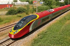AGV Alstom High speed train, in a Virgin red, yellow & grey colour scheme! The same photograph is available photoshopped also in the Eurostar colour scheme! Rail Transport, London Transport, Locomotive, Exterior Gris, Escala Ho, Europe Train, Diesel, Bonde, British Rail