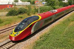 Virgin AGV  Alstom High speed train red yellow grey exterior