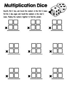 Box method multiplication 2-digit numbers worksheets PDF