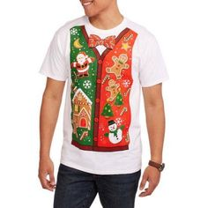 Christmas Men's Gingerbread Jumble Graphic Tee, Size: XL, White