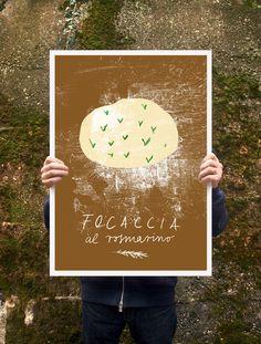 "Focaccia al rosmarino Poster print  20""x27"" - archival fine art giclée print. $85.00, via Etsy."