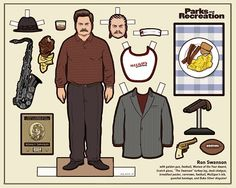 Ron Swanson paper doll hahaha..Parks and Rec