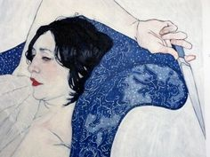 """Hope Gangloff, """"Salome (detail)"""", 2009. Acrylic/canvas, 90"""" by 48"""". Susan Inglett Gallery, NYC."""