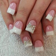 Delightful Pink And White Nails With Silver Beads #Frenchmanicure