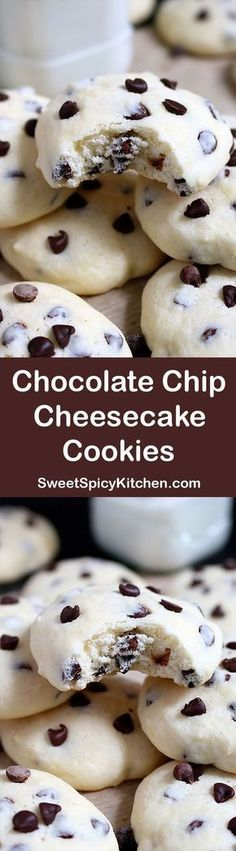 These cookies with cream cheese and chocolate chips simply melt in your mouth. These cookies with cream cheese and chocolate chips simply melt in your mouth. Chocolate Chip Cheesecake Cookies are simple, light and delicious ♥️ chip cookies Chocolate Chip Cheesecake, Cheesecake Cookies, Mini Chocolate Chips, Chocolate Chip Cookies, Keto Cheesecake, Chocolate Cream, Cake Chocolate, Italian Cheesecake, Chocolate Mouse