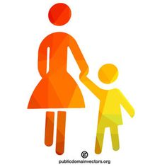 Mother and child vector symbol