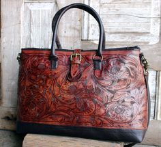 Juan Antonio Saddle Brown Tooled Leather Travel Bag - A Cowgirl's Promise LLC Store