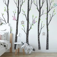 Get It Now Birch Tree Wall Vinyls - Nursery Forest Wall Decals With Owls And Bird House - Large Kids Wall Stickers by Wallboss. Forest Nursery, Owl Nursery, Nursery Wall Stickers, Nursery Wall Decor, Wall Decals, Custom Wall, Tree Wall, Bird Houses, Vinyls