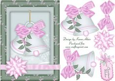 Christmas Bells in Pink and Green A5 Card with Step by Step on Craftsuprint designed by Karen Adair - This is an A5 sized card front, with a pretty bow enwrapped frame, and featuring beautiful Christmas bells in pink and green. Decoupage and greetings tag also included. If you like this check out my other designs, just click on my name. - Now available for download!