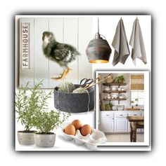"""Farmhouse Kitchen"" by queenofsienna ❤ liked on Polyvore featuring interior, interiors, interior design, home, home decor, interior decorating, Juliska, Primitives By Kathy and kitchen"