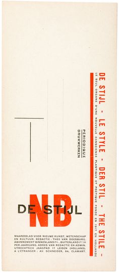 Theo van Doesburg, advertising DeStijl, 1928