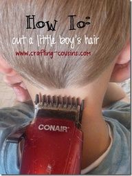 haircut tutorial- I definitely need this. I have been cutting my 3yo sons hair and husbands for a while, but these directions are a lot easier to follow than the ones that come with the clippers. I like her idea about starting at the back first