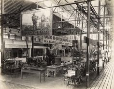 This picture of Machinery Hall was taken at the 1916 Exhibition. Note the posters for WWI bonds and the ammunition displays, signs of the times.