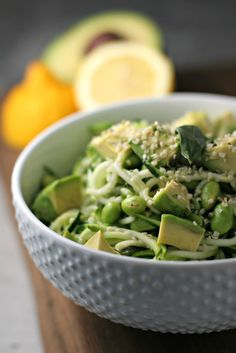 Avocado and Edamame Zucchini Noodles ~vegan, gluten free~ A light and refreshing meal made in under 10 minutes!