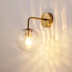 Rippled Glass Sphere Wall Lamp Minimalist 1 Light Gold Wall Sconce Lighting with Arm - Gold Wall Lamps & Sconces Hanging Light Fixtures, Hanging Lights, Wall Mounted Lamps, Wall Lamps, Gold Wall Lights, Contemporary Wall Lights, Luminaire Vintage, Luminaire Mural, Style Simple