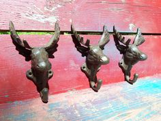 MOOSE ELK Head Unusual Cast Iron Wall Hook Coat Rack Bath Towel Holder Lodge Rustic Manly Cabin Cottage Country Farm Shabby Chic Maine Relic Via Orphaned Treasures Etsy