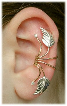 Ear Cuff - Leaf Spray - 14K Gold Filled and Sterling Silver. $49.00, via Etsy.