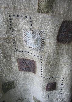 Maya Matthew .. Detail of silk, tea dye, sequins