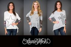 Lauren Moshi sweaters. On the left is large Nail Star in natural with flower print on lower sleeves. Middle is mini Nail Stars in heather grey with camo print on lower sleeves. On the right is the Rose Cross in heather grey with floral print on lower sleeves. #scottsdalejeanco #sjc #laurenmoshi #winterfashion http://www.scottsdalejc.com/brand/Lauren-Moshi/
