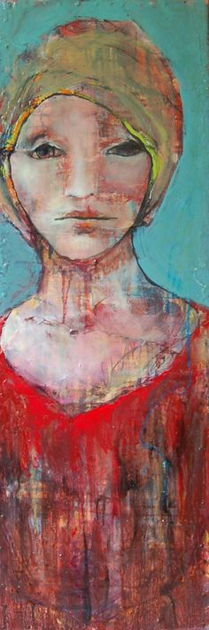 """Shellie Lewis-Dambax - """"In Time Lies Hope"""" 36x12 / Mixed Media on Board  #red #blue #paintings #women #art"""