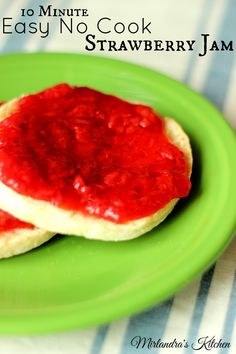 No easy no cook strawberry jam that whips together in 10 minutes. No canning required and because the jam is never cooked it tastes like fresh berries!   I use this as jam, dessert topping, and stirred into yogurt.