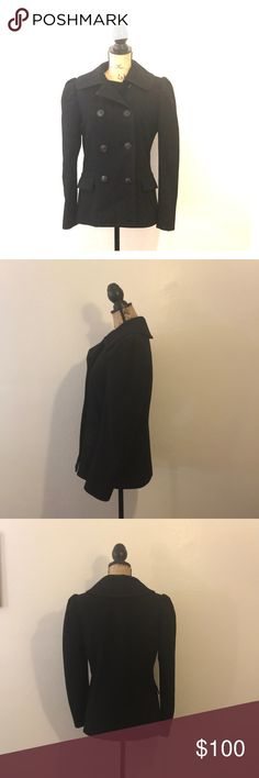 """Gorgeous Double Breasted Ralph Lauren Peacoat Luxurious Double Breasted Ralph Lauren Peacoat. Fully lined and 2 exterior pockets. Very classy coat. Excellent condition. Wish it still fit me. Measurements- bust 19"""", overall length 27"""". **Smoke Free Home** Ralph Lauren Blue Label Jackets & Coats"""