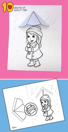 Girl With Umbrella in the Rain Printable Craft Girl With Umbrella in the Rain Printable Craft Bear Crafts, Sand Crafts, Seashell Crafts, Paper Crafts, Crafts For Girls, Crafts To Do, Arts And Crafts, Printable Crafts, Printables