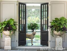 Renovated Family Home in Charleston. Love the dark french doors and of course the yellow lab! Traditional Front Doors, Traditional House, Traditional Kitchens, Traditional Interior, Traditional Design, Entry Foyer, Entry Doors, Front Entry, Patio Doors