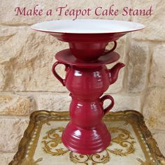 DIY Teapot Cake Stand - Would be cute for a centerpiece too.