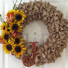 Burlap bubble wreath with sunflowers
