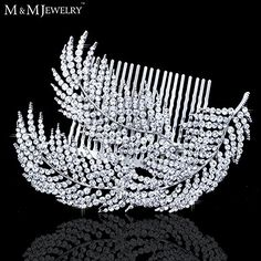 Feather Shape Crystal Bridal Hair Combs Hairpin Imitation Gemstone Bridal Tiara Wedding Hair Accessories Hair Jewelry -- You can find more details by visiting the image link.