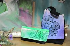 Green clutch floral bag, unique handpainted leaf spring bag, handmade from thic cotton, 1 only!