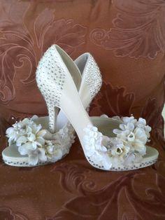 Ivory platform high heels embellished with clear swarovski crystals and eloquent floral arrangement! The perfect wedding heels!