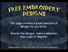 These FREE EMBROIDERY DESIGNS are a great way to try our quality. From applique's, regular embroidery and 'In the Hoop' projects, We wish you can try them all and tell your friends to try them as well! Just browse and select the design, register to our friendly list or login to download them.