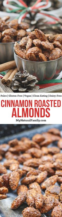 These cinnamon roasted Paleo almonds take the classic holiday treat and make them healthy. You can't even image how good your house smells when you make these! {Gluten-Free, Clean Eating, Dairy-Free, Vegan} AD