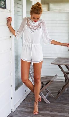 Luv to Look | Curating Fashion & Style: Fashion trends | Summer boho white lace romper