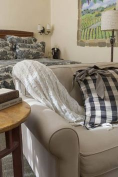 This bed and breakfast is in Yountville, California, minutes from Napa Valley area wineries. Four Sisters, Sweater Pillow, Work Desk, Wineries, Napa Valley, Bed And Breakfast, Gardens, California, Guest Rooms