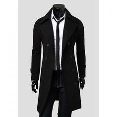 $43.90 Solid Color Turndown Collar Elegant Double-Breasted Long Sleeves Woolen Trench Coat For Men