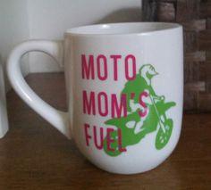 Moto Mom Coffee Cup, Moto Mom's Fuel, Moto Mom Gift, Moto Mom, Motocross Mom, Motocross, Funny Coffee Cup, Motocross Coffee Cup, Dirt Bike by MommaBeckysCrafts on Etsy https://www.etsy.com/listing/235232561/moto-mom-coffee-cup-moto-moms-fuel-moto