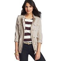 """Cotton Canvas Utility Jacket - Irresistibly rugged (and utterly cute), we love the tomboy glam appeal of this cotton canvas style – the cinched waist creates a decidedly feminine fit. Stand collar. Long sleeves. Epaulettes. Hidden zip front with snap placket. Four snap flap patch pockets. Snap cuffs. Ruched detail at waist. 25"""" long. $98"""