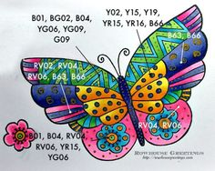 Copics Color map - Flutterbye by Stampendous (Laurel Burch) Laurel Burch, Cat Quilt Patterns, Embroidery Patterns, Gelli Printing, Cat Cards, Butterfly Cards, To Color, Mandala Coloring, Halloween Art